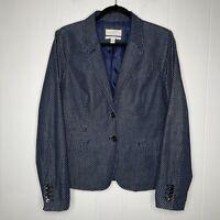 J Crew Women's School Boy Blazer Jacket Polkadot Navy Blue Size 12