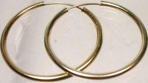 High Quality 14kt Gold 21mm Endless Hoop Earrings Ancient Roman Celtic Britannia