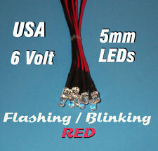 10 FLASHING LEDS 5mm PRE WIRED 6 VOLT RED 6V BLINK PREWIRED BLINKING