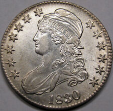 1830 Capped Bust Half Dollar. Super Choice AU. Large 0. Rare in this High Grade!