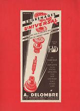 PUBLICITE   DELOMBRE PIECES DETACHEES UNIVERSAL   /  ACCESSOIRES  AUTO AD 1952