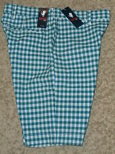 "Stafford Prep -Madras-Style Plaid Shorts ! size: 30"" Waist , Green & Blue"