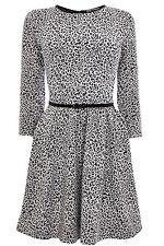Oasis Leopard Jacquard Skater Dress L
