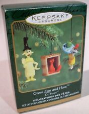 Hallmark Keepsake Ornament Green Eggs and Ham Dr. Seuss Miniatures Set  2000