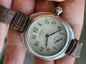 1920'S INGERSOLL WRIST MILITARY TRENCH WATCH  MILITARY DIAL HAND WIND 39mm RUNS
