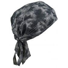 Mens unisex Fitted Bandana Zandana Headscarf Wrap Easy Tie Grey Stone Acid Wash