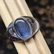 Natural Royal Blue Kyanite 925 Sterling Silver Solitaire Unisex ring size 7.75