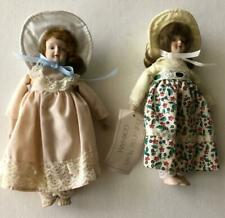 Gorham Doll of the Month Set of 2 Bisque Porcelain Christmas Ornaments