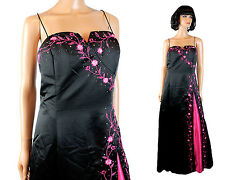 NWT Prom Dress Jrs XXL Long Black Pink Satin Embroidered Beaded Sleeveless Gown