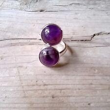 Anillo doble piedra amatista ajustable plateado anillo boho etnico anillo chic