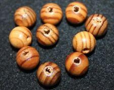 10 Holzperlen - Holzkugeln - 16 mm - rund - Kiefer - kaffebraun lasiert