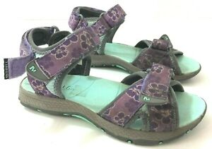 MERRELL Surf Strap 2.0 Girls 2M Leather Sandals Purple Aqua MC52330