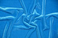 """Turquoise Stretch VELVET Apparel Dress Costume Fabric - Sold By The Yard - 58"""""""