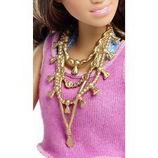 2016 BARBIE JEWELRY GLAM VACATION DOLL GOLD LONG TIERED ORNATE NECKLACE ONLY