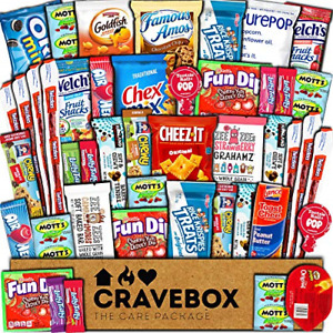 CraveBox Care Package 45 Count Snacks Food Cookies Granola Bar Chips Candy Gift