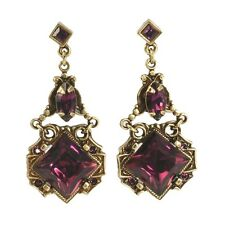 SWEET ROMANCE ART DECO STYLE SQUARES EARRINGS  BRONZE/AMETHYST CRYSTAL
