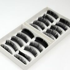 10 Pairs New Natural False Eyelashes Fake Makeup Eye Lashes Lash with Glue -EU -