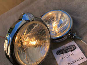 NEW SMALL12  - VOLT CLEAR VINTAGE STYLE FOG LIGHTS WITH FOG CAP ON LIGHTS !