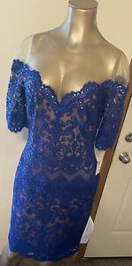Tadashi Shoji Blue Knee Length Cocktail Sequin Dress Size 8