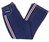 Revolt Jeans Womens Plus Size High Waist Retro Racing Stripe Jeans