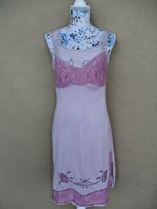 Vtg Hand Dyed Pink Full Slip Nightgown Dress Embroidery Lace 34 Custom Layered
