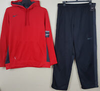 NIKE THERMA-FIT SWEATSUIT HOODIE + PANTS SET RED BLACK GREY NEW RARE (SIZE XL)