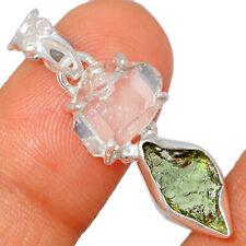 Genuine Czech Moldavite & Herkimer Diamond 925 Silver Pendant Jewelry BP44899