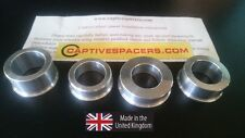 CBR600 F4  2001- 2006 Captive wheel Spacers. Full set. UK made. Silver.