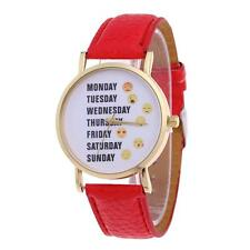 Women Quartz Analog Leather Bracelet Stainless Steel Wristwatch Lady Watch Gift Red