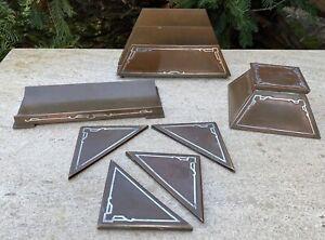 Silvercrest 4 pc Sterling on Bronze Desk Set Inkwell, Letter Holder, Pen Tray +