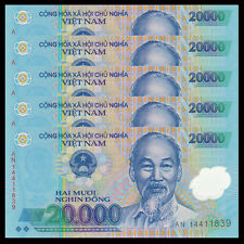 Lot 5 PCS, Vietnam Viet Nam 20000 20,000 Dong, Polymer, 2014-2016, P-120, UNC