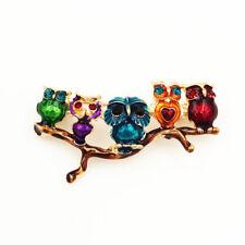 Betsey Johnson Enamel Crystal Cute Tree Branch Five Owl Charm Brooch Pin Gift