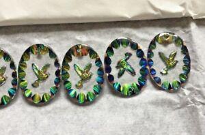 Peace Dove Vitrail Pendant Super Vintage German Glass Pendants 14 pcs