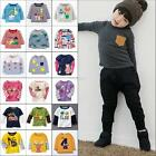 2-6Y Kids Blouse Cartoon T shirt Baby Boys Long Sleeve T Shirt Tee Top Blouse