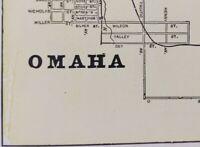 "Vintage 1900 OMAHA NEBRASKA Map 14""x11"" ~ Old Antique Original ORCHARD HILL NE"