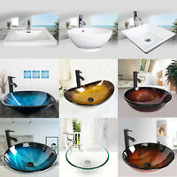 Bathroom Tempered Glass Vessel Sink Ceramic Basin Bowl Faucet Pop-up Drain Combo