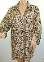 Millenium Women Plus Size 1x 2x 3x Brown Beige Leopard Tunic Top Blouse Shirt