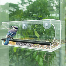 Bird Feeder Clear Glass Window Viewing Hotel Table Seed Hanging Suction