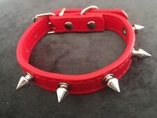 Red Dog Collar With Studs Christmasy Puppy Cat 20-28cm XXS
