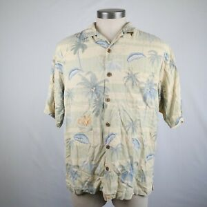 Tommy Bahama Men's Pale Yellow Floral Short Sleeve Button Up Silk Shirt Size M
