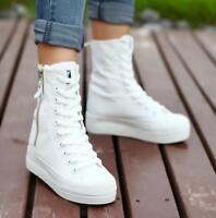 Women's casual side zip Canvas platform High top sneakers Heels ankle shoes