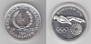 PARAGUAY - RARE 150 GUARANIES SILVER PROOF COIN 1972 YEAR KM#36 MUNICH OLYMPIC