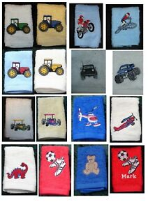 Personalised embroidered  childrens face cloth/flannel mainly for boys