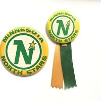 "Vintage Button Pin Minnesota North stars Classic Logo 3.5"" and 2.25"" Lot of 2"