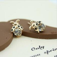Shiny 14K/14ct Rose Gold Plate Cute Small Firefly Bug Crystal Stud Earrings Gift