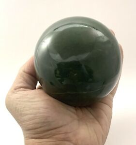 83 mm Nephrite Jade Polished Sphere Gemstone Display S2NS040