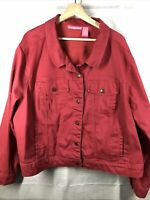 Woman Within 26W BUTTON UP COLLARED jean jacket rose