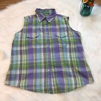 Wrangler Wrancher Women's Western Sleeveless Plaid Pearl Snap Button Down Size M