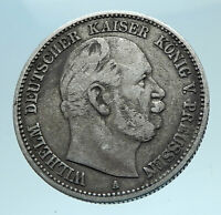 1876 A PRUSSIA KINGDOM German STATE King WILHELM I Silver 2 Mark Coin i78235