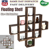 13 Cubes Retro Floating Shelves Wall Display Storage Rack Organizer Home Office